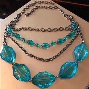 Aqua & Gray Multi Strand Chain Bead Necklace